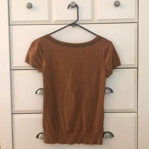 Loft Brass Beaded Short Sleeve Sweater
